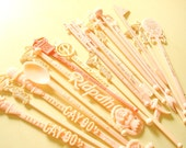 20 pink vintage swizzle sticks, vintage cocktail stir sticks, gifts for her, drink stirrers, barware and entertaining
