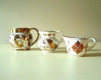Lustreware creamer collection, copper lustre, pink lustre, instant collection English luster ware, Wedgwood, Gray's Pottery, Old Castle