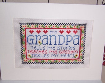 Grandpa  Completed Handmade Cross Stitch Birthday Card, Hand Stitchd Greeting Card, cross stitch card