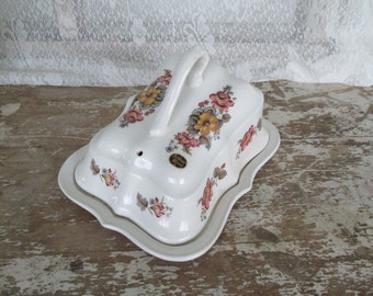 Covered Cheese Dish Arthur Wood England China Floral China Dish Distressed China Shabby  Victorian Cottage Chic Tableware Serving Buffet
