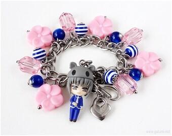 Fruits Basket Yuki Sohma Charm Bracelet, Anime Jewelry, Cluster Bracelet, Zodiac Jewelry, Kawaii Jewelry, Pink, Blue, Silver