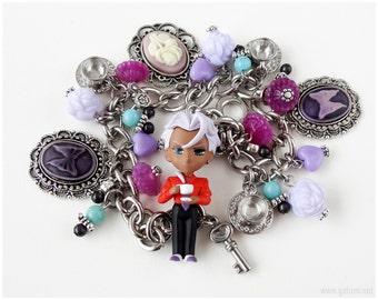 Revolutionary Girl Utena Akio Charm Bracelet, Stainless Steel, Anime Jewelry, OOAK