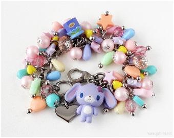 Sugarbunnies Charm Bracelet, Blueberry Bunny Figure, Pastel Charms - Sweet Lolita, Fairy Kei, OOAK