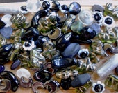 BEAD Mix Lot Destash Black White Olive Grey Silver Vintage Czech Glass Hematite Onyx MOONs Drops Elephants Flowers Faceted, 1940s seed beads