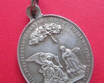 Virgin Mary Angel Gabriel Annunciation Antique French Silver Religious Medal Saint Roch Pendant Circa 1800 s  SS373