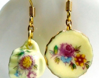 Tea cup earrings porcelain china yellow floral