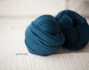 Stretch Knit Wrap - Newborn Knit Wrap - SNUG Jersey Wraps - Newborn Prop - PEACOCK baby wrap - Knit wrappers