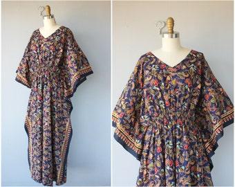 Vintage Floral Print Caftan | Vintage Batik Caftan | 1970s Caftan | 70s Caftan Dress | Cotton Caftan | Vintage Kaftan | Batik Maxi Dress