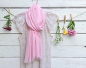 Light Pink Cotton Scarf, Cotton Gauze Scarf, Summer Scarf, Long Scarf, Lightweight Scarf, Pink Scarf, Bridesmaid Gifts