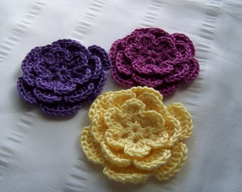 Crocheted flower 3 inch cotton set of 3 yellow violet colors