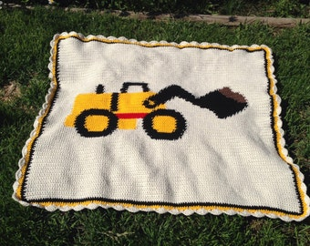 Front End Loader Construction Vehicle - Baby Blanket - Hand Made - Crocheted - Crib Sized - Ready to Ship - 36 x 44 inches