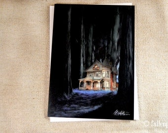 SALE - Halloween Greeting Card - Redwoods Victorian House Illustration