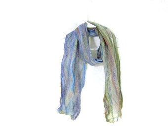 Cobweb Felted Scarf Wool Scarf Gifs for Her Winter Scarf Two Sided Scarf Womens Scarf Winter Accessory Lightweight Scarf Blue and Green OOAK