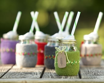 Pint size Felted wool mason jar cozy set green with yellow flowers pint size