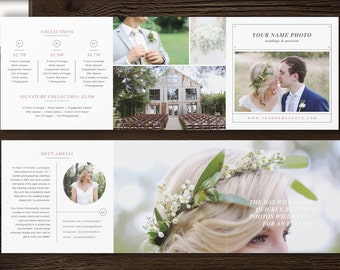Photographer Pricing Guide - Digital Trifold Template - Price List Templates - Wedding Photography Branding & Marketing Design