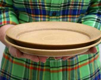 SECONDS SALE - A set of two dinner plates glazed in natural brown