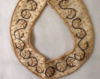 1950's Beaded Silk Collar, Cardigan Collar, Bib Necklace