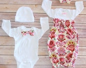 Baby Gowns Matches Moms - Layette with Headband or Bow Tie Onesie W/Cap - Matches Moms Maternity Gown - So Awesome for babys first Pictures