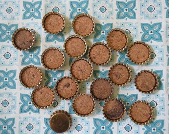 20 FUN Vintage Cork Backed Bottle Caps