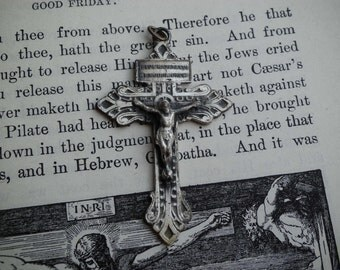 Vintage Crucifix Pendant With Sacred Heart
