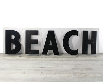BEACH - Vintage Acrylic Marquee - 8 Inch Clear Plastic Letters