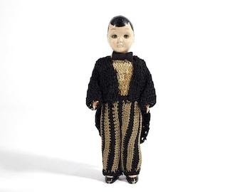 Groom Cake Topper Doll - Sleepy Eyed - Crochet Tuxedo - Hard Plastic