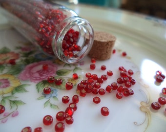 Vintage Glass Seed Beads in Glass Bottle