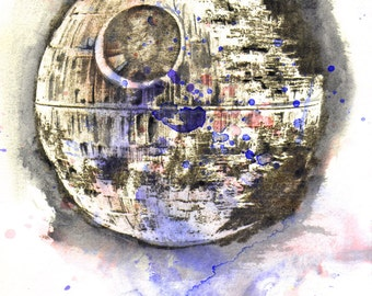 Death Star Star Wars Art Print From Original Watercolor Painting - 8 x 10 in. Star Wars Art Print