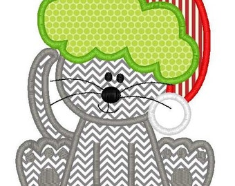 Christmas Kitty Machine Embroidery Applique