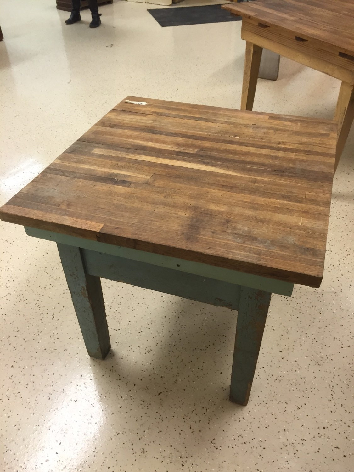 custom made butcher block table antique base with old paint