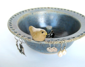 Philip jewelry bowl / bowl in speckled blue with a bird, IN STOCK