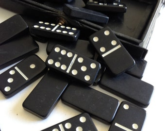Mini Dominoes Black and White  Double Six Set of 28 Marbleized