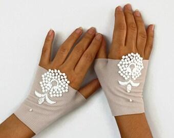 Fingerless Bridal Gloves, Handmade Wrist Cuffs Charm, Mauve, Dark Beige Elastic Fabric Handmade