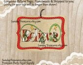 3 Tags Believe Christmas Tags / Candy Cane font / Burlap Background / Favor Bag Gift Tags Label / Christmas Ornament / 3 Day Ship (ref-ts)