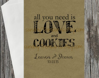 10 PAK All You Need Is Love & Cookies / BLACK / WEDDING Cookie Buffet Party Favor Bags  / Bridal Engagement / Personalized 3 Day Ship