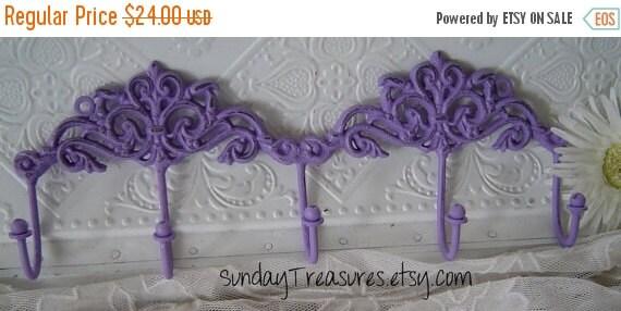 Fall Sale Lavender Purple. Double Scroll scrolly Iron Wall Hook. 5 hooks. Towel / Jewelry Hook / Shabby  Cottage Chic /Victorian Decor. Nurs