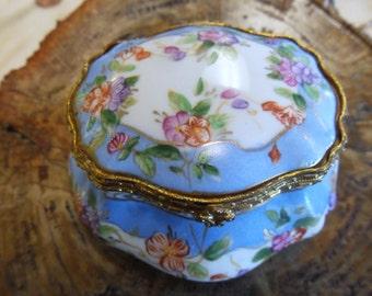 Vintage Blue Flora Limoges' Dresser Vanity Box