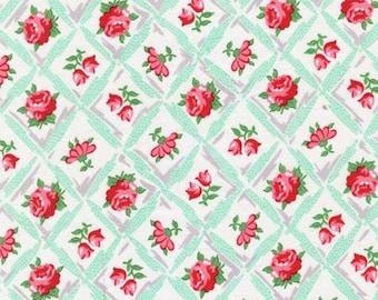 Michael Miller Retro Inspired Cotton Fabric CX6853AQU  Florals in Diamonds