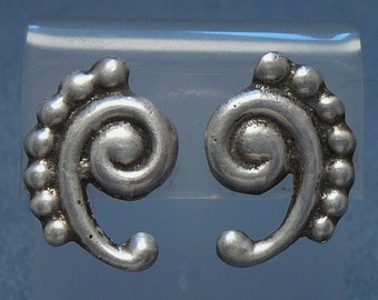 Sterling Southwestern Swirl Curlicue Earrings Native American / Mexican