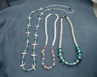 Three Vintage Turquoise & Shell Necklace