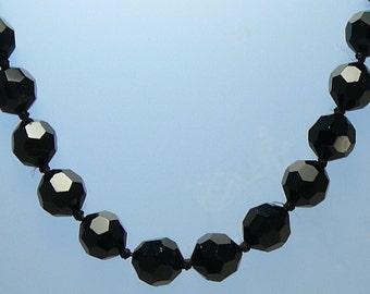 Les Bernard Crystal Necklace Black Faceted Crystals Snap Closure
