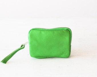 Zipper credit cards small purse in light green, coin wallet zipper phone case money bag - The Myrto Zipper pouch