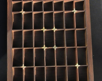 Part printer's wooden type case /tray / drawer - for display, thimbles,etc