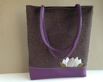 TOTE bag in dark brown canvas and purple vegan leather with water lily applique