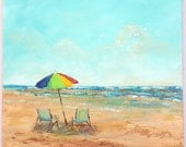 Abstract beach painting with beach chairs and umbrella, large beach painting, square 20x20 inch canvas with some texture