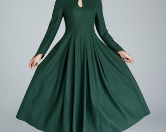 green wool dress, elegant dress,prom dress, party dress, maxi dress, retro dress, mandarin collar dress, ladies dresses, fitted waist   1621
