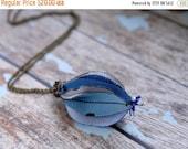 SALE SALE SALE Blue flower bud necklace, Flower necklace,  Fabric Jewlery ,Ooak, Tagt Team
