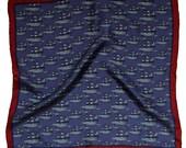 SAMPLE SALE/ Ships Silk Pocket Square / Nautical Pocket Square / Blue Silk Pocket Square / Ships Pocket Square