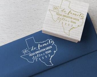 Texas Return Address Stamp - Custom Wooden Handle Return Address Stamp, State Address Stamp, Custom state rubber stamp
