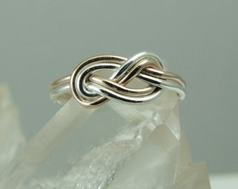 Rose Gold Filled and Silver Celtic Knot Ring / Endless Knot Figure 8 Infinity Ring / Love Knot / Alternative Wedding Ring